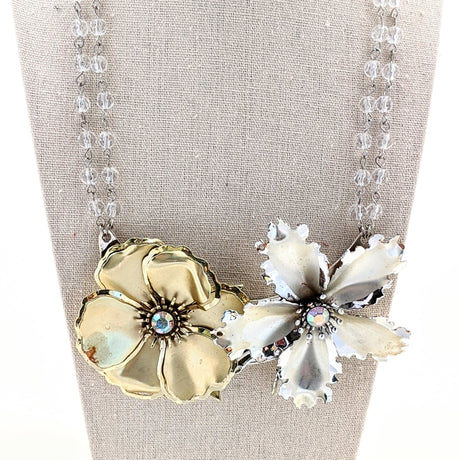 Mixed Metal Vintage Flower Collage Necklace