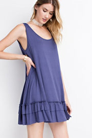 Faded navy sleeveless ruffle tunic, blue ruffle tank top