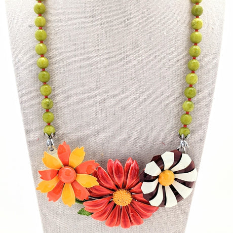 Olive and Orange Mod Vintage Flower Collage Necklace