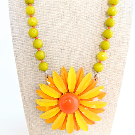 Orange and Olive Flower Necklace