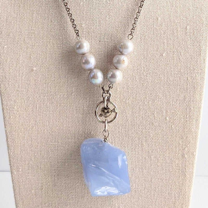 Blue Lace Agate Long Pendant Necklace