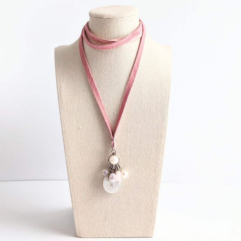 "Rose Leather ""amour"" pendant necklace"