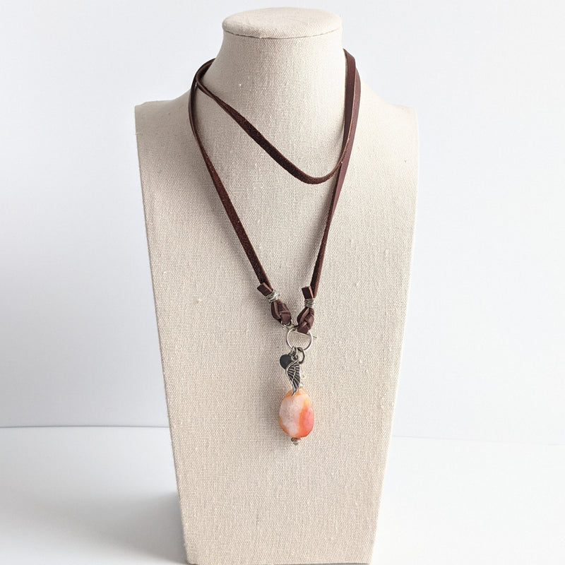 Pink Agate Leather Pendant Necklace
