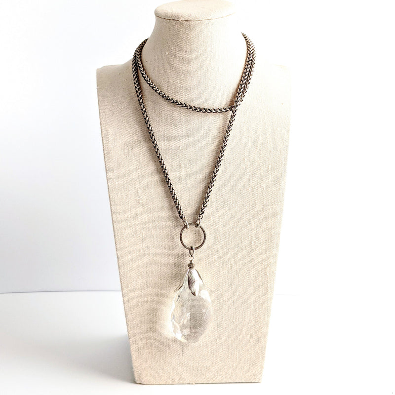 Crystal Teardrop Layering Necklace