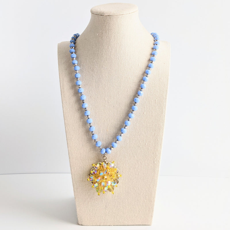 Lilac & Lemon Beaded Vintage Pendant Necklace