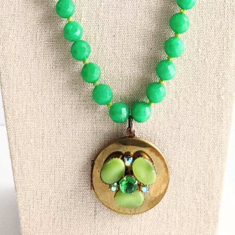 Kelly Green Beaded Vintage Locket Necklace