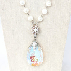 Pearl & Crystal Drop Long Beaded Bauble Necklace