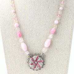 Vintage Pink Glass Pendant Necklace