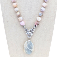 Pink Opal & Gray Agate Pendant Necklace