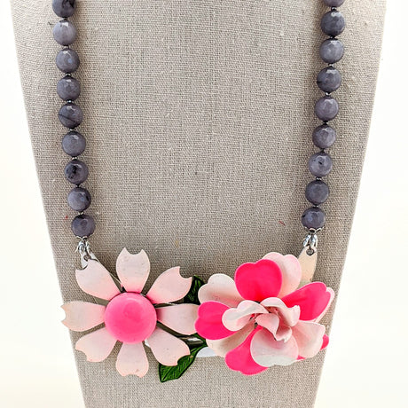 Pink and Gray Mod Vintage Flower Collage Necklace