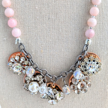 Pink Rhinestone Coin Necklace