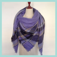 Purple Plaid Blanket Scarf