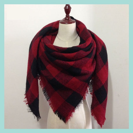 Red and Black Buffalo Plaid Blanket Scarf