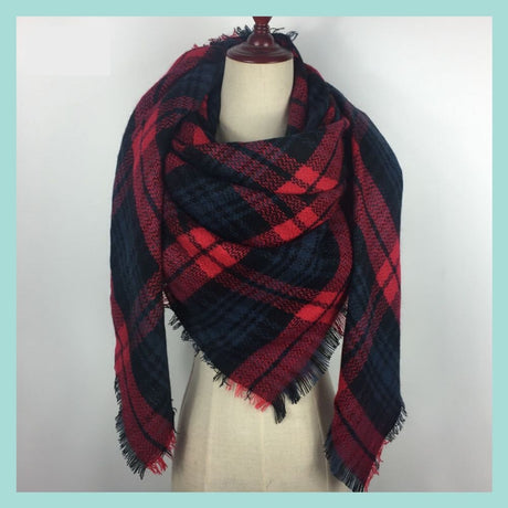 Navy and Red Blanket Scarf
