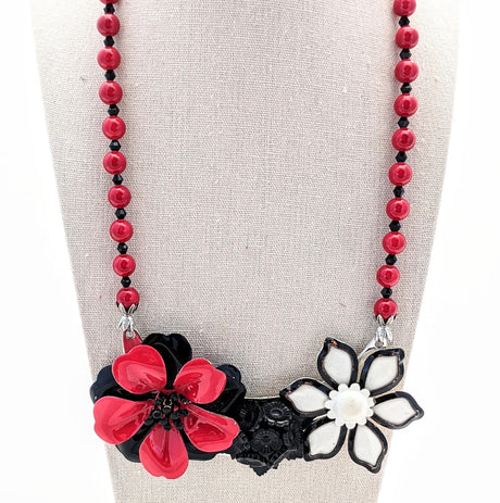 Red and Black Mod Vintage Flower Collage Necklace