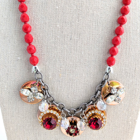 Red Rhinestone Coin Necklace