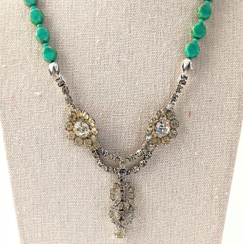 Aqua Czech Glass Beaded Rhinestone Statement Necklace (rhinestone 30)