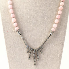 Pink Beaded Rhinestone Statement Necklace (rhinestone 34)