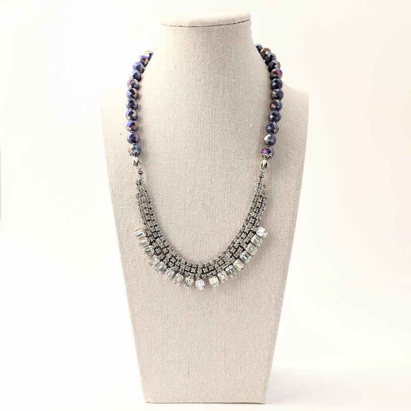 Purple Beaded Rhinestone Statement Necklace (rhinestone 35)