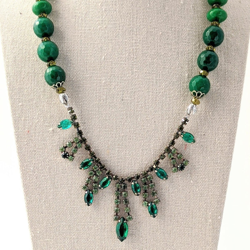 Green Glass Beaded Rhinestone Statement Necklace (rhinestone 38)