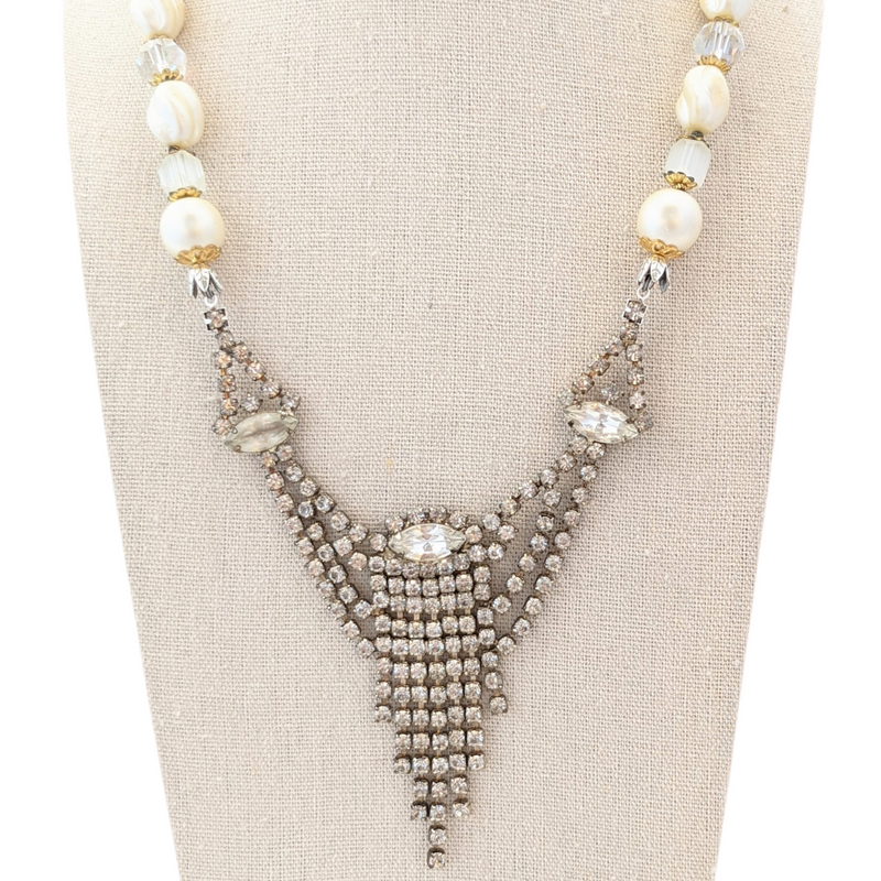 Dripping in Pearls Vintage Rhinestone Necklace
