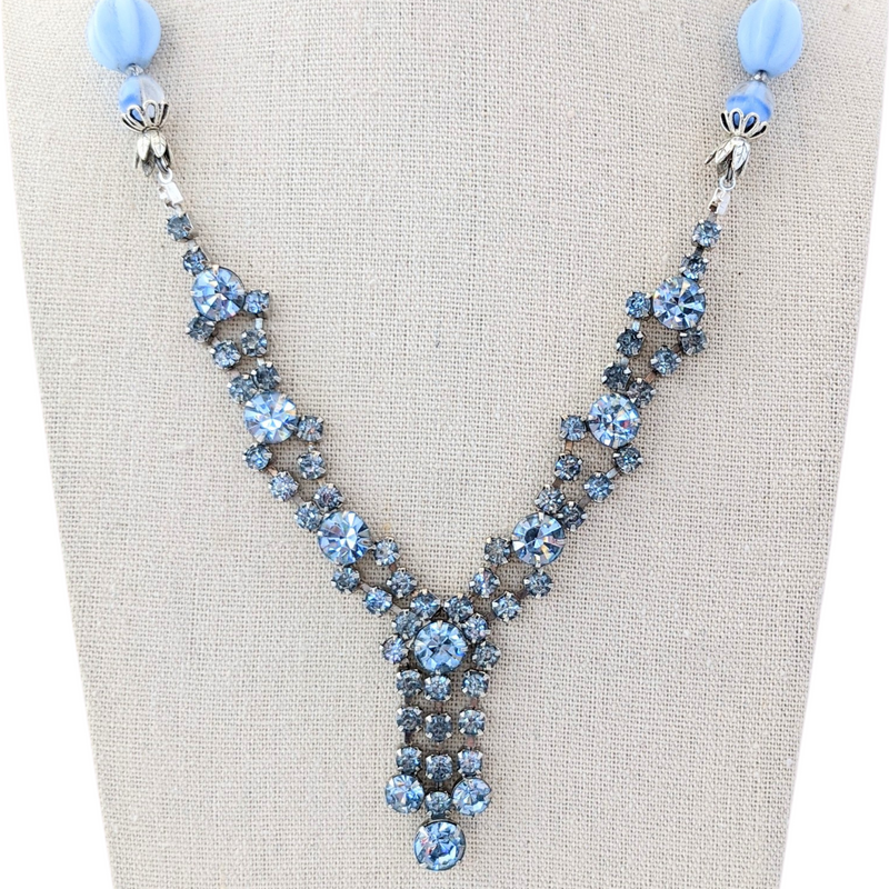 The Skies are Blue Vintage Rhinestone Necklace