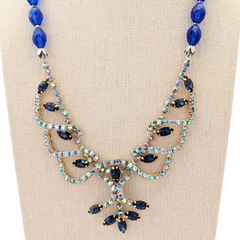 Pretty as a Peacock Vintage Rhinestone Necklace