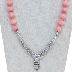 Pink Vintage Rhinestone Necklace