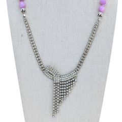 Lilac Asymmetrical Vintage Rhinestone Necklace