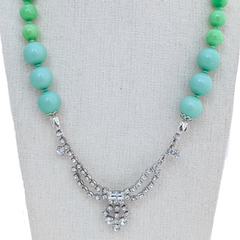 Aqua Colorblocked Vintage Rhinestone Necklace