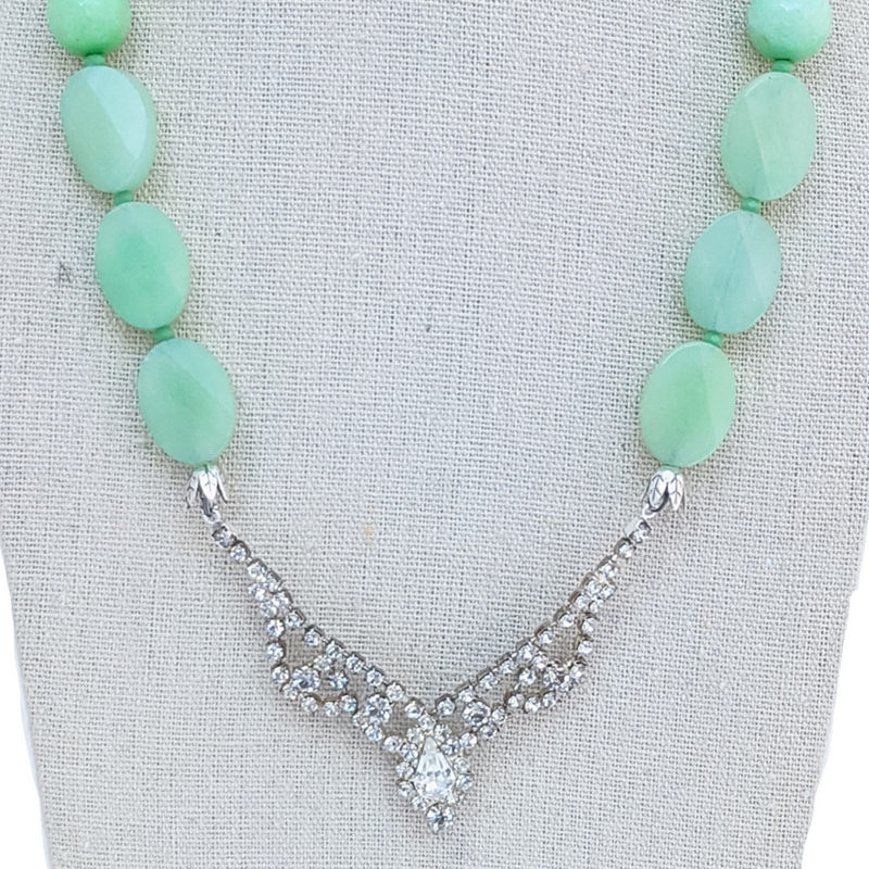Mint Jade Vintage Rhinestone Necklace