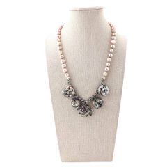 Champagne Pearl Vintage Rhinestone Coin Necklace