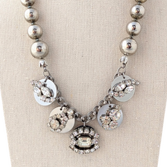 Vintage Silver Bead Rhinestone Coin Necklace