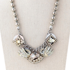Angel Wing Rhinestone Coin Necklace