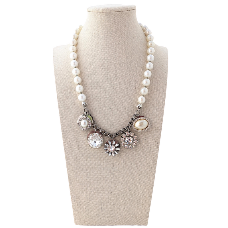Vintage Pearl Rhinestone Coin Necklace