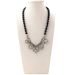 Jet Vintage Crystal Coin Necklace