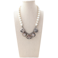 Pearl Vintage Crystal Coin Necklace
