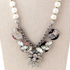 Blingy Pearl Rhinestone Coin Necklace