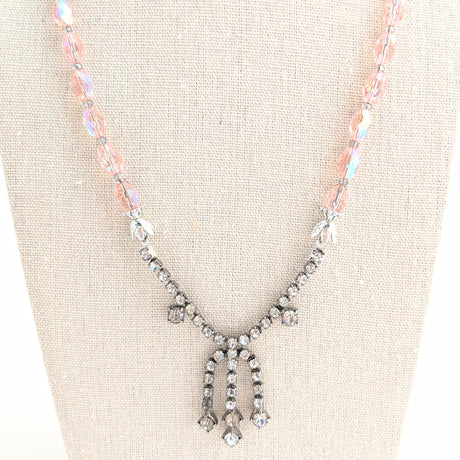 pink czech glass rhinestone necklace