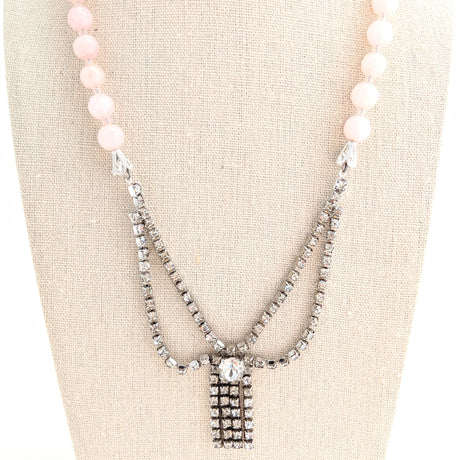pink deco rhinestone necklace