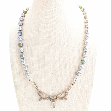 silver glass statement necklace