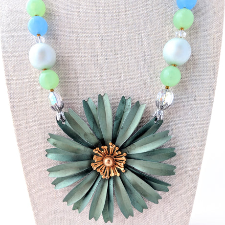 Sage Green Vintage Flower Necklace
