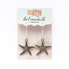 silver starfish earrings