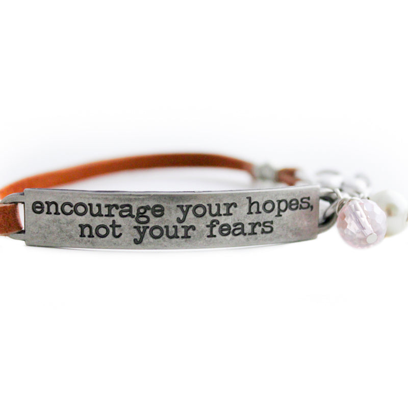 Inspirational Quote Bracelet, Tan Leather