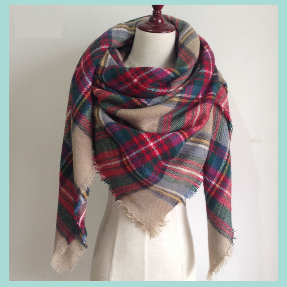 Taupe Plaid Blanket Scarf