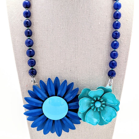 Teal and Cobalt Mod Vintage Flower Collage Necklace