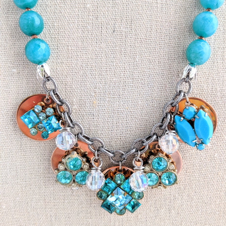 Teal Rhinestone Coin Necklace