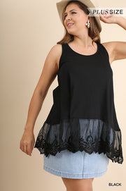 plus size black lace tank
