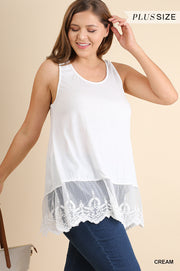 plus size cream lace top extender
