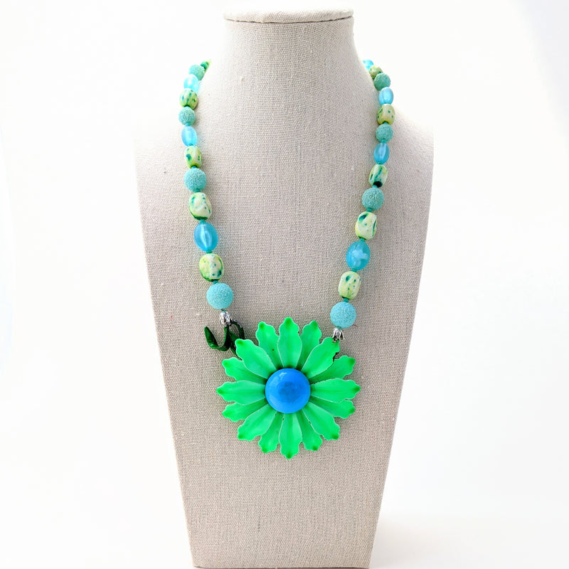 Green and Blue Vintage Flower Necklace (VF 106)